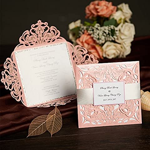 50 Pink Laser Cut Wedding Invitations Card Kit With RSVP Cards Birthday Party Baby Shower Graduation Invitations with Gold Ribbon