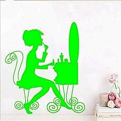 Hermosa Laddy extraíble arte vinilo pegatinas de pared para sala de estar decoración de dormitorio papel tapiz decoración murales pegatinas Muraux verde 42 cm x 48 cm