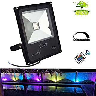 Colour Changing Lights with Remote-50W Waterproof LED RGB Flood Light for Backyard, External, Stage, Commercial, Christmas Lighting I Adjustable Outside Ground Wall Mounted Large Decorative Lamp