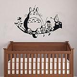 Chubby Totoro auf Baum Ast Wandtattoo Baby Kinderzimmer Wandtattoo 90x 60cm Art Decor Abnehmbare Vinyl Anime Totoro Silhouette Aufkleber Japanisch schwarz