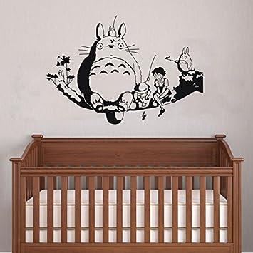 Chubby Totoro on tree branch wall sticker baby nursery wall art decor  90x60cm removable vinyl Anime totoro silhouette decal (BLACK):  Amazon.co.uk: Kitchen u0026 ...