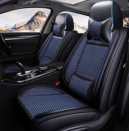 Lykaci Kompatibel mit Universal- Vorderseite und Rückseite Haut und Eisseide Autositzkissen für BMW Honda Toyota Rutschfester Wildlederrücken Sitzkissen (Color : Blue) - Toyota Auto Matrix Sitzbezüge