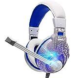 Mvlike Riss Desktop Computer Headset, Spiel Esports Stimme Headset Cool Bunte Lichter Hochauflösende Audio-Laufwerkseinheit Anti-Vibration Elastic Arc Head Beam (Farbe : Weiß)