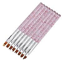 aixingwuzi Practical Nail Painting Brush, Color Acrylic Painting Brush UV Gel Drawing Pen Blue Red Handle Nail Art Tools 8pcs Set (Red)