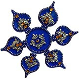 Handmade Elegantly Designed Blue Rangoli - With Paan Shape Design Decorated With Multicolour Stones And Beads On Blue Round Shaped Plastic Base - 7 Pieces Set - Packed In Transparent Pouch