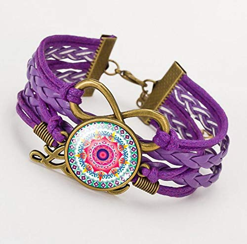 Heylookhere Mandala Pattern Print Time Pulsera de Cristal de Piedras Preciosas (púrpura)