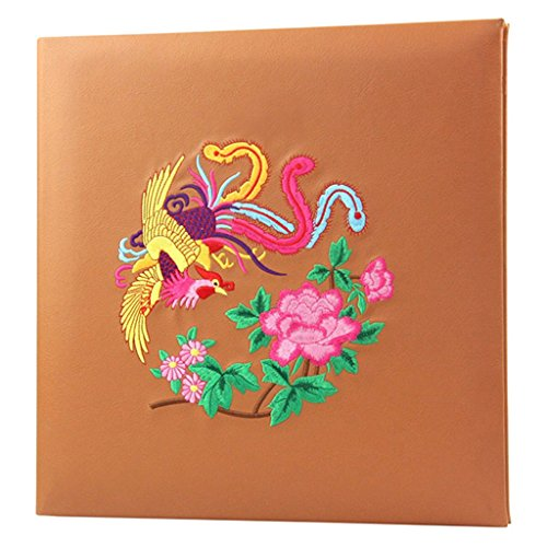 FOOHAO- Album photo magnétique auto-adhésif, couverture de broderie PU, 20 pages (40 visages), albums famille créative Couple (Couleur : White card)