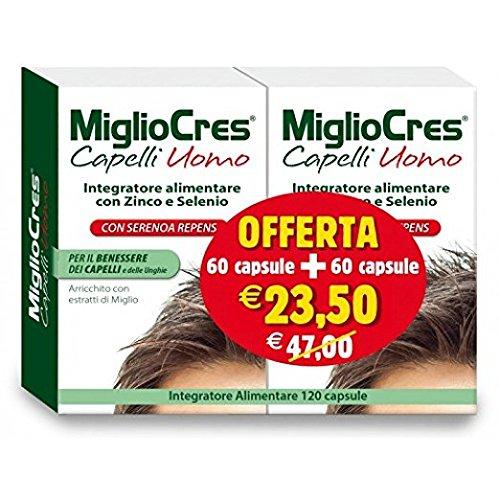 MiglioCres Capelli Uomo Integratore Alimentare 60 Capsule+ 60 Capsule