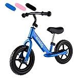 Chigant Kinder Laufrad Kinderlaufrad Lauflernrad Kinderrad mit Handbremse, 12 Zoll Höhenverstellbar Lernlaufrad Balance Bike, ab 2-6 Jahre, Schwarz Blau Rosa (DE-Lager)