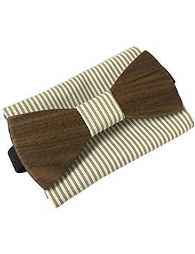 [lebenslange Garantie] handgefertigte Holzfliege aus Marinière Stoff und quadratischer Stoffhülle