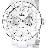 Festina F16622/1 - Reloj analógico de cuarzo para mujer con correa de cerámica, color blanco de Festina