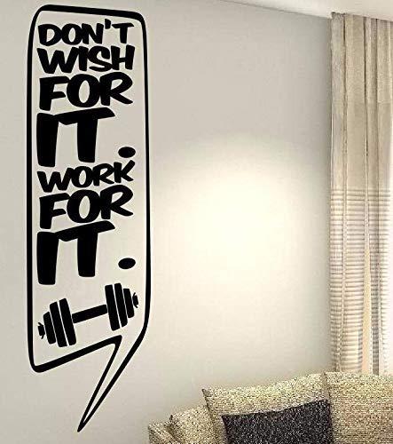 Dozili Vinyl-Wandaufkleber mit Zitat Don't Wish for It Work for It für Zuhause, Wohnzimmer, Schlafzimmer, Schlauch, Dekoration, Geschenkidee, 35,6 ()