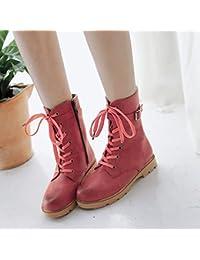 &ZHOU Botas otoño y del invierno botas cortas mujeres adultas 'Martin botas botas Knight A4-6 , red , 44