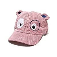 MEEDDDA Baseball cap, boy girl cute cartoon dog shape striped mask baby beret, sun hat, red
