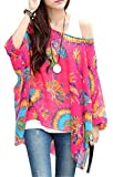 Boho Chiffon Bluse – jltph Damen Floral lose Batwing Sleeve Bohemian Chiffon Oversize Off Schulter Bluse Tops Gr. One size, color12