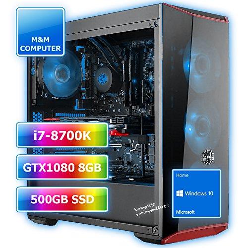 M&M Computer Dresden High End Gamer Intel Wasserkühlung Smart RGB, Intel Core i7-8700K CPU Coffee Lake (Sixcore/Hexa-Core), GeForce GTX 1080/8GB Gaming Grafikkarte, VR+4K ready, 480-500GB SSD , 16GB DDR4 RAM 3000MHz, Gigabyte Z370-Gaming 3 AORUS Mainboard USB3.1 mit 2-Kanal RGB Beleuchtung, stylisches Coolermaster-Gehäuse, Windows 10 Home vorinstalliert inkl. Treiber, Bestseller