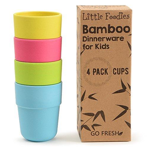 Go Fresh Bambus Kindertassen, 4er-Set Kinder Bambus Trinkbecher, Umweltfreundliches Kinder Geschirr Set, Bambus Kleinkind Becher ohne Deckel, Kinder Bambustassen für den täglichen Gebrauch