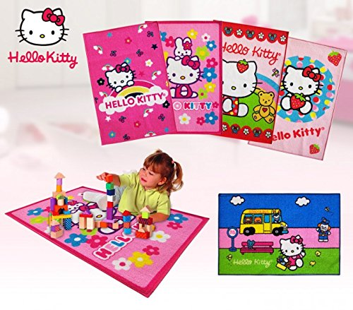 Alfombra infantil para niño y niña HELLO KITTY en color rosa (67 X 100 CM) – Decoración del hogar mws2037 (SERIE 3 - FLORES)