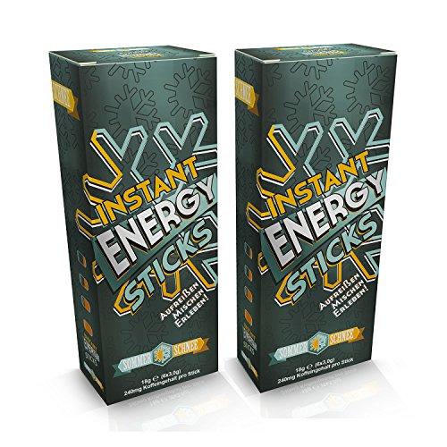 Sommer Schnee Doppelpack Instant Energy Sticks, koffeinhaltiges Getränkepulver, 240mg Koffein pro Stick entsprechen ca. 4-5 Tassen Espresso! Zu 100% Vegan, Made in Germany. (Schnee Leistung)
