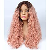 vvBing Long Curly Lace Front Wig Synthetic 2 Tones Ombre Dark Roots to Pastel Pink Wig Glueless Wave Hair Heat Resistant Fibers Middle Parting (24')