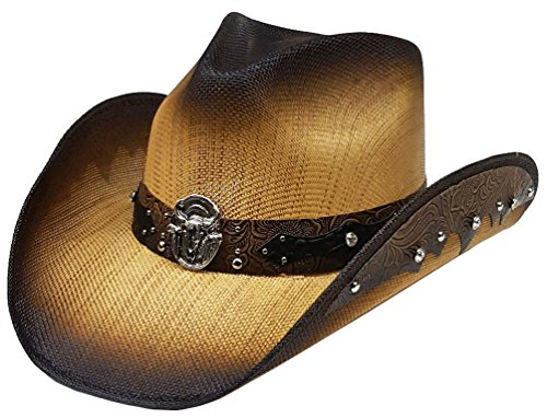 Modestone Straw Cowboy-Hut Longhorn Bull Rhinestones Appliques Brown (Cowboy-hüte Larry Mahan)