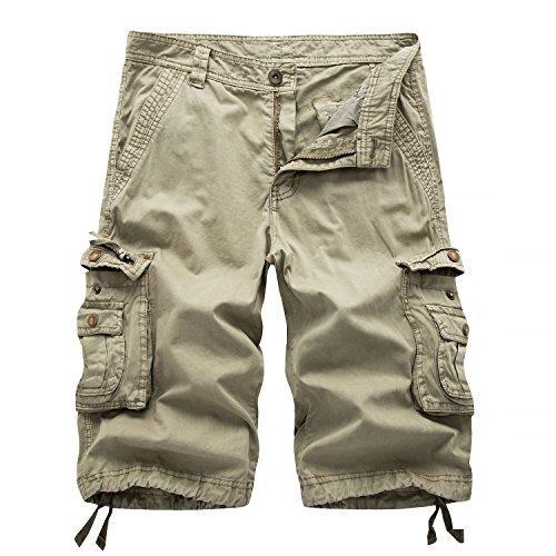 AYG Cargo Shorts Herren Bermudas Baumwolle Shorts(khaki,38)