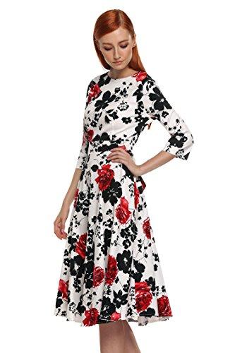 ACEVOG Damen 1950er Retro Vintage Sommerkleid Partykleid Cocktailkleid Abendkleid Knielang Ärmllos Rot Blumen Lang Arm