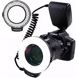 SAMTIAN RF-550D Anneau 48 LED Ultra Brillant et Légère LED Flash Annulaire avec Une luminosité Plus précise Series Macro est conçu pour Appareils Photo Reflex Nikon Canon Olympus