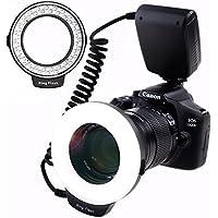 SAMTIAN 48 Macro LED Anillo de luz de flash con pantalla LCD Anillos adaptadores y difusores de flash para Canon 750D 760D T6i 550D 600D 650D 700D Nikon D500 D5500 D750 D7100 D7200 D800 D800E D810