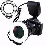 SAMTIAN 48 Macro LED Anello Flash con LCD Display Controllo di Aliemntazione, Anello di Adattatore e Flash Diffusore per Canon Nikon Sony mi Hot e altri DSLR