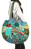 Tribe Azure Groß Oversize Blau Leinen Schulter Tasche Handtasche Individuell Tote-Bag, Quilt Vintage Strand Reise Sommer