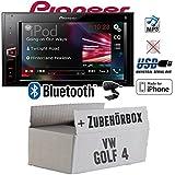 VW Golf 4 IV - Pioneer MVH-AV290BT - 2DIN USB Bluetooth Touch iPhone Android Autoradio - Einbauset