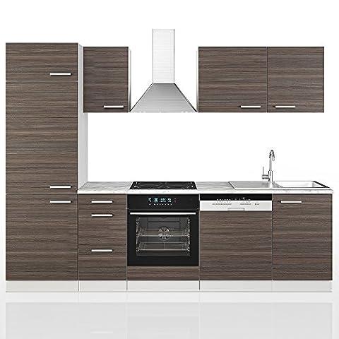 VICCO Küche 270 cm Küchenzeile Küchenblock Grau Einbauküche Komplettküche – Anthrazit Frei Kombinierbar