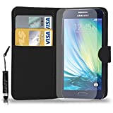 Samsung Galaxy A3 Leather Wallet Flip Case Cover Pouch & Mini Touch Stylus Pen + Free Screen Guard & Cleaning Cloth - BLACK