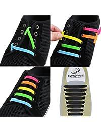 SCHNÜRRLIE Elastische Silikon Schnürsenkel - hochwertiger Schnürbänder Ersatz für Sneaker Sportschuh Turnschuhe