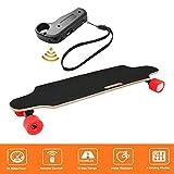 Bunao Elektro Longboard E Skateboard Elektrisches City Scooter Elektrolongboard mit Fernbedienung und Motor   Reichweite Ca. 10 km, Geschwindigkeit 20km/h (Rot)