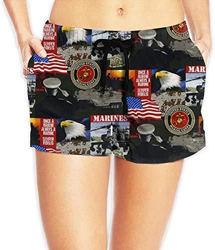 Qianfengdamaoyi Women Elastic Shorts Casual Beach Shorts with Drawstring - United States of America...