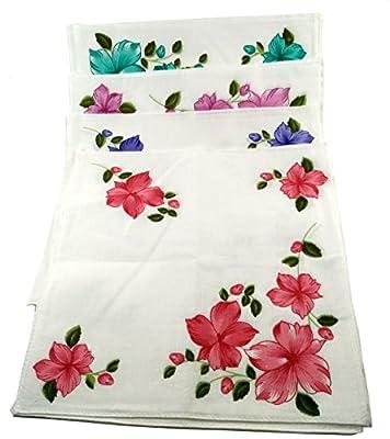 bilAnca Women's Cotton Handkerchief(White) - Pack of 12