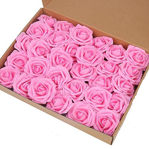 Marry Acting Künstliche Rosen, fühlen sich an wie echte Rosen, für selbstgesteckte Blumensträuße zur Hochzeit, Party, Babyparty, Muttertag und Heimdekor, 30 Stück