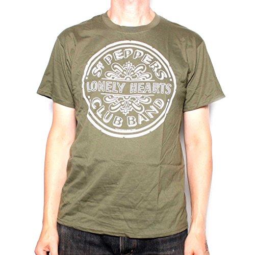The Beatles Sgt Pepper-Maglietta tamburo verde 100% ufficiale Beatles merce Green S