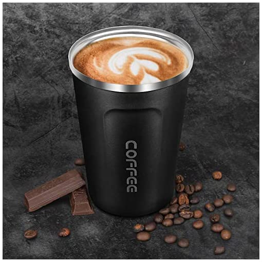 Insulated Coffee Cup, Double Walled Travel Mug Vacuum Insulation Stainless Steel with Leakproof Lid  Eco-Friendly Reusable Cup for Coffee,Tea and Beer 13oz ,Black