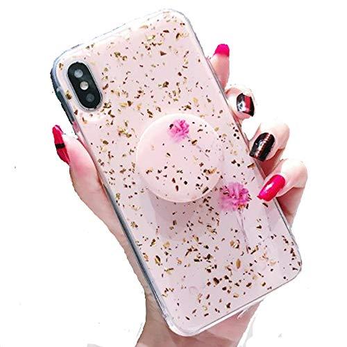 Aulzaju Schutzhülle für iPhone mit glänzendem Marmor-Ring, Holografisch, TPU, für iPhone für Mädchen und Frauen iphone 8 plus/7 plus 5.5 inch Pink Rose -