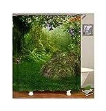 Bishilin Antischimmel 3D Duschvorhang 150x180 Wald Badezimmer Duschvorhang