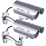 2 x IDAODAN Fake Dummy Camera Security CCTV Surveillance for Indoor or Outdoor Use with Flashing LED Light Bullet Shape Silver