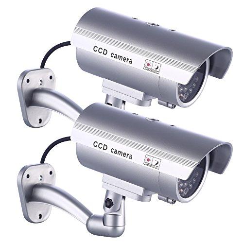2 x Dummy Kamera IDAODAN Fake CCD-Überwachungskamera wasserdichte Sicherheitskamera mit Blinkendem Rotem LED-Licht Silber