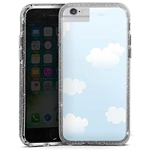 Apple iPhone X Bumper Hülle Bumper Case Glitzer Hülle Wolken Himmel Wolkenmuster Bumper Case Glitzer silber