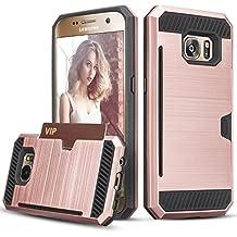 Funda Samsung Galaxy S7 - HanLuckyStars Funda con Ranuras para Tarjetas Billetes,Interior Suave,Doble Protección Guacho para Samsung Galaxy S7 S VII G930 GS7 Todos los Operadores (Rosa)