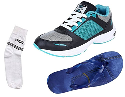 Maddy Men's Combo Of 2 Shoes- 1 Sports Shoes With Denim Slipper & Socks -8