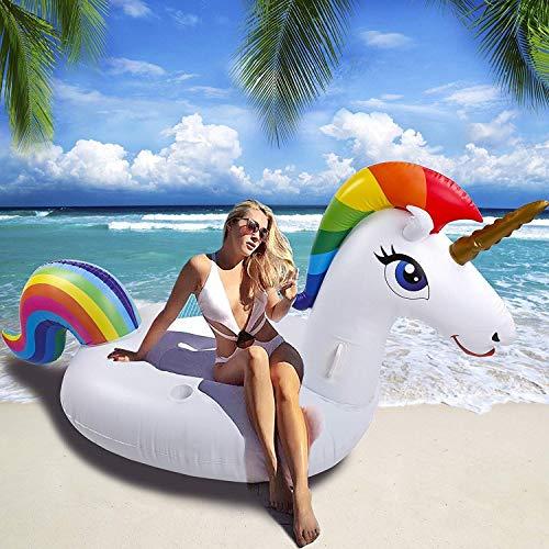 NEWYANG Unicornio Inflable Colchoneta - Juguete Hinchable Unicornio Piscina,PVC Adecuado Para Piscinas de Verano y Playa para Adultos y Niños