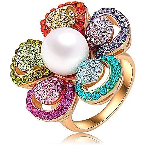 Forma Unory (TM) di alta qualità nobile dell'anello della perla placcato oro 18K Fiore austriaco di cristallo Anelli di nozze Ri-HQ0338